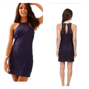 Lily Pulitzer Jaimie Knit Lace Shift Dress Navy